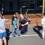 Getting down and close with bagpipes