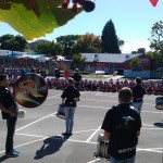The band plays for the children