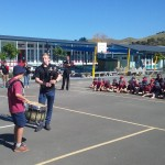 Young Michael from the Napier PB shows his drumming skills